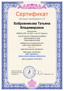 Сертификат о размещении электронного портфолио
